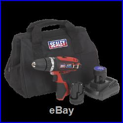 CP1201KIT Sealey Hammer Drill/Driver Kit 10mm 12V Li-ion 2 Batteries Drills