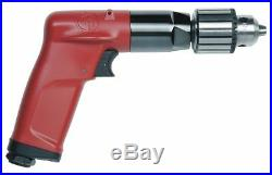 Chicago Pneumatic 0.5 HP Industrial Duty Keyed Air Drill, Pistol Style, 1/4